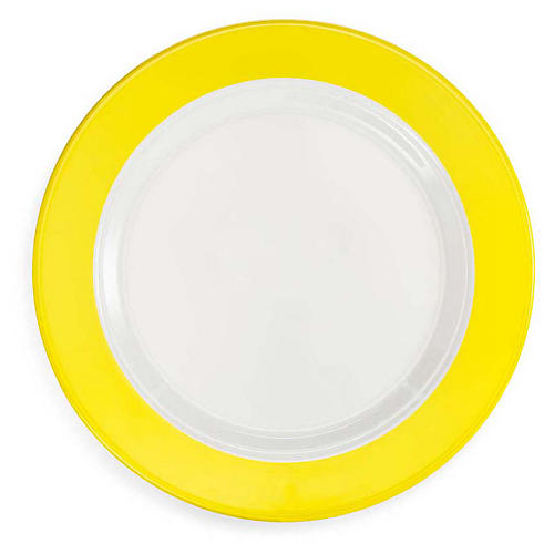 S/4 Bistro Melamine Dinner Plates, Yellow/White