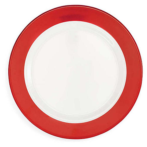 S/4 Bistro Melamine Dinner Plates, Red/White