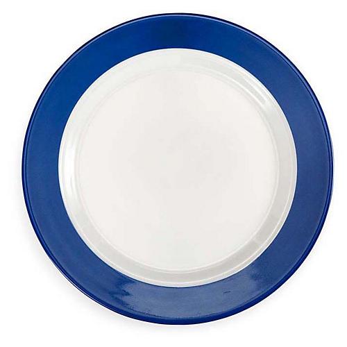 S/4 Bistro Melamine Salad Plates, Blue/White
