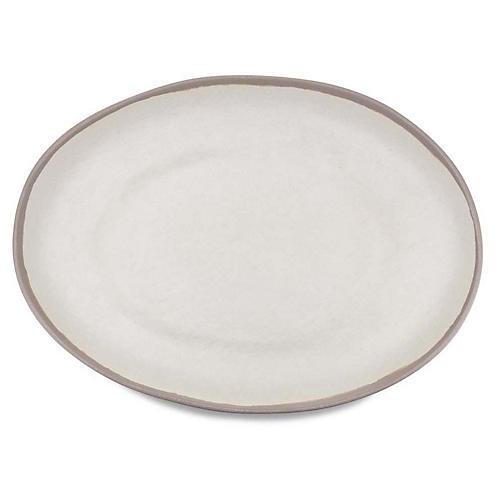 Potter Oval Melamine Platter, Beige/Gray