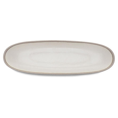 Potter Oval Serving Bowl, Ivory/Gray