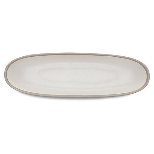Potter Oval Serving Bowl, Ivory/Gray