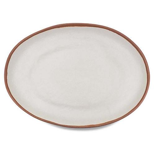 Potter Oval Melamine Platter, Beige/Terracotta