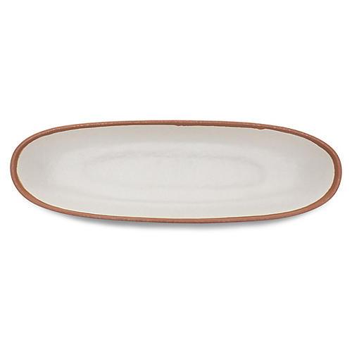 Potter Oval Serving Bowl, Ivory/Terracotta