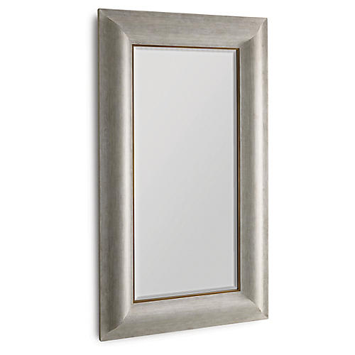 Toile Floor Mirror, Silver Linen/Brass