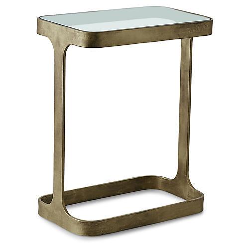 Saddle Side Table, Antiqued Gold