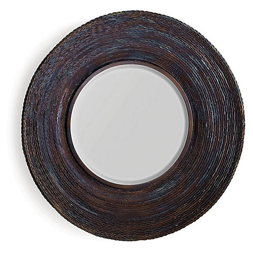 Twisted Large Wall Mirror, Torched Iron