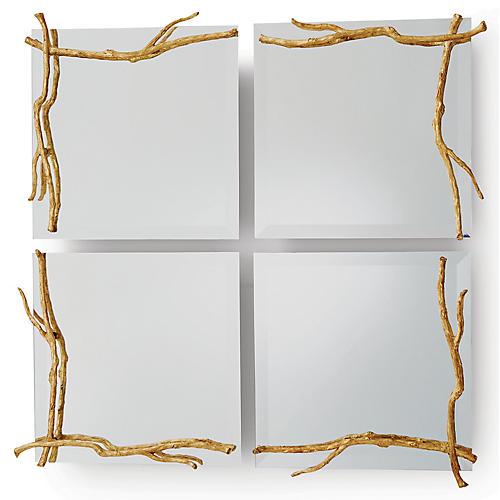 Twig Accent Mirror, Gold Leaf