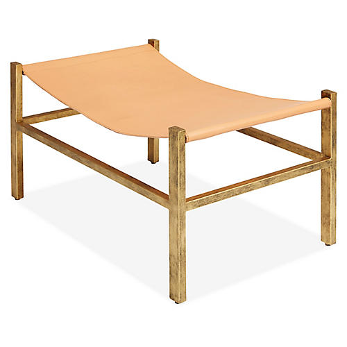 Wright Sling Footstool, Bronze/Natural Leather