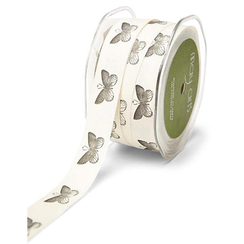"3/4"" Ivory Canvas Ribbon, Butterfly"