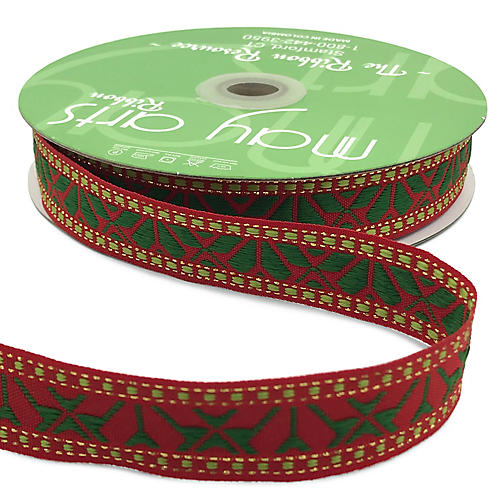 """1"""" Holiday Embroidery Ribbon, Red/Green"""