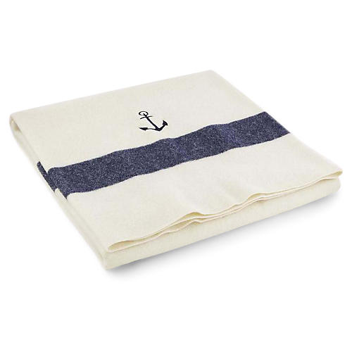 Anchor Baby Blanket, Bone/Navy