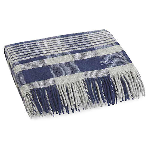 Plaid Merino Wool Throw, Navy/Heather Gray