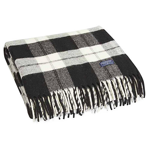 Bison Merino Wool Throw, Black/White