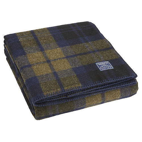 Shadow Plaid Wool Throw, Olive/Navy