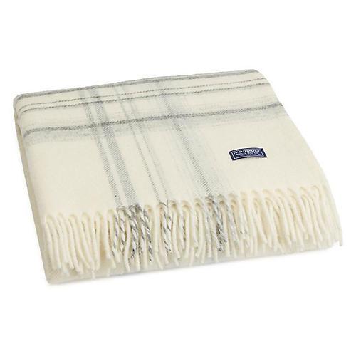 Border Plaid Merino Wool Throw, Ivory/Smoke