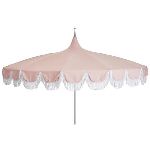 Aya Pagoda Fringe Patio Umbrella, Light Pink