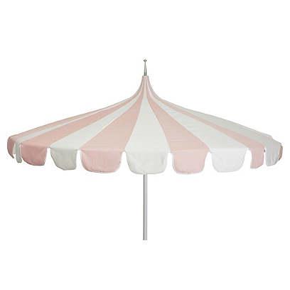 Aya Pagoda Patio Umbrella, Light Pink/White