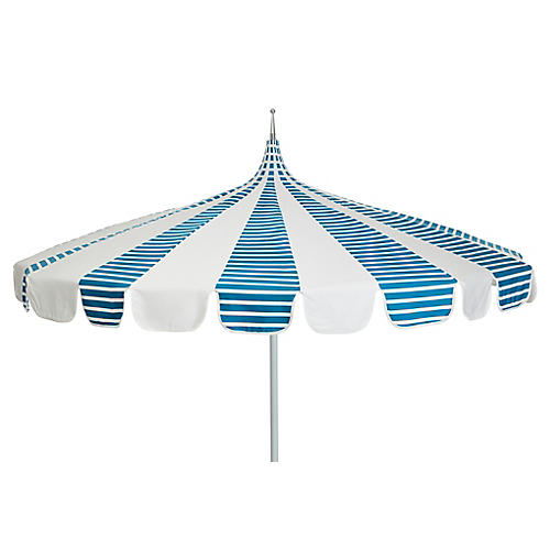 Aya Pagoda Patio Umbrella, Regatta Blue/White