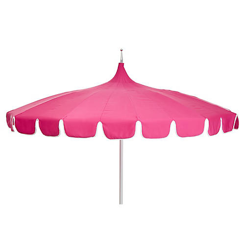 Aya Pagoda Patio Umbrella, Pink/White