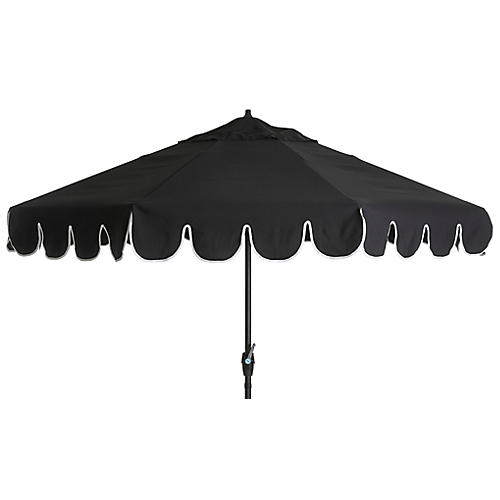 Phoebe Scallop-Edge Patio Umbrella, Black