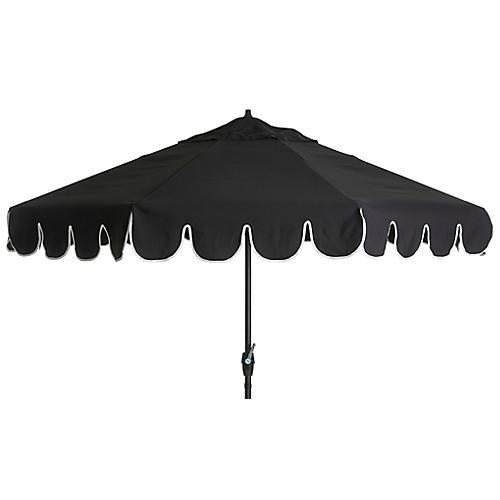 Phoebe Scallop-Edge Patio Umbrella, Black