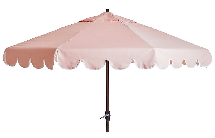 Phoebe Scallop-Edge Patio Umbrella, Light Pink