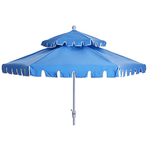 Poppy Two-Tier Patio Umbrella, Sky Blue