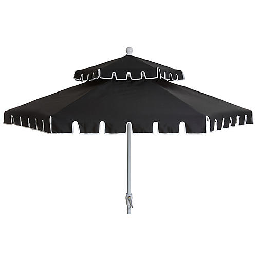 Poppy Two-Tier Patio Umbrella, Black