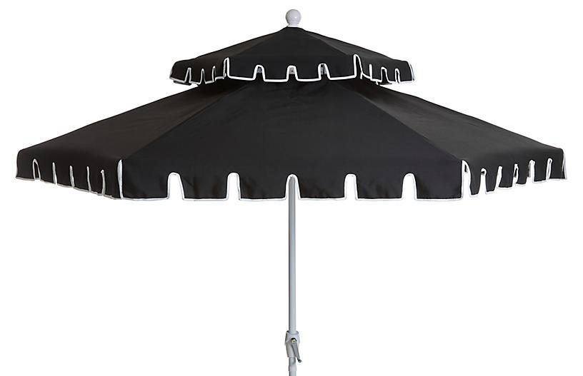 lbl.alttext.altThumbnailImage ? - Poppy Two-Tier Patio Umbrella, Black - One Kings Lane Outdoor