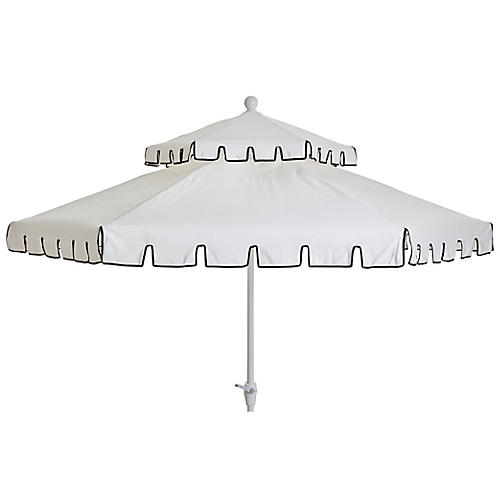 Poppy Two-Tier Patio Umbrella, Ivory