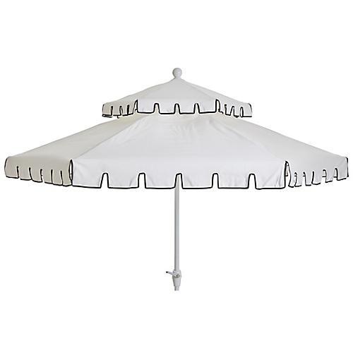 Poppy Two-Tier Patio Umbrella, Ivory