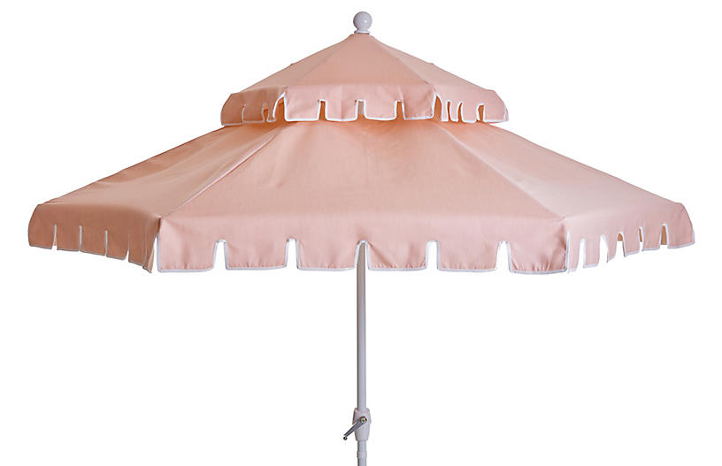 Poppy Two-Tier Patio Umbrella, Pink