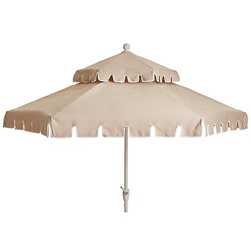 Poppy Two-Tier Patio Umbrella, Beige