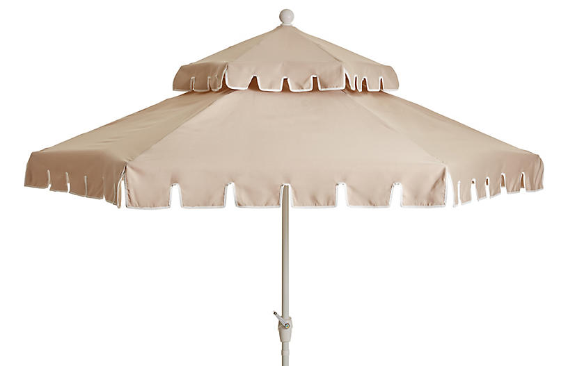 Poppy Two-Tier Patio Umbrella, Beige