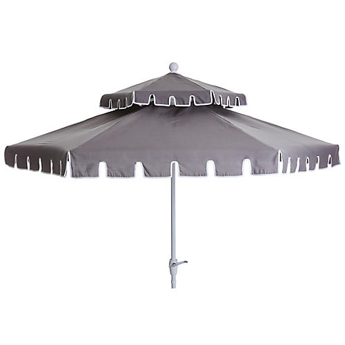 Poppy Two-Tier Patio Umbrella, Gray