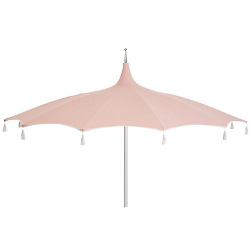 Rena Tassel Patio Umbrella, Light Pink