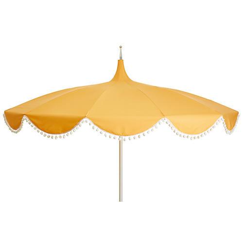 Dani Pom-Pom Patio Umbrella, Yellow