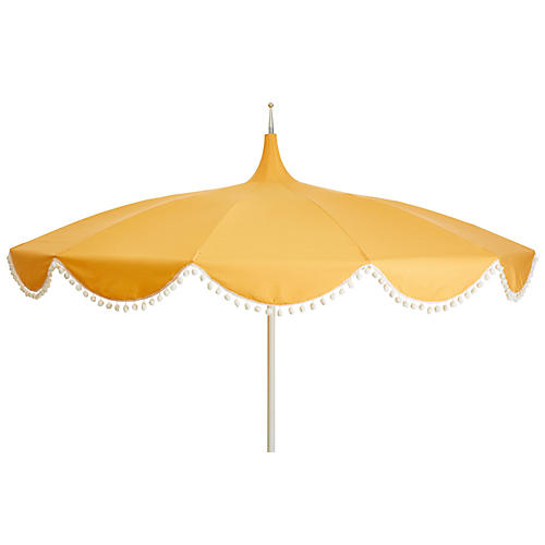 Dani Pom-Pom Patio Umbrella, Yellow