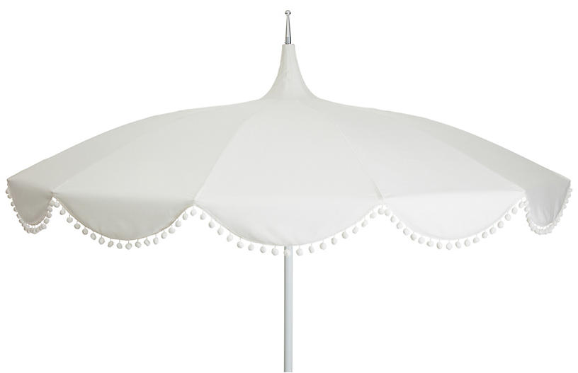 Dani Pom-Pom Patio Umbrella, White