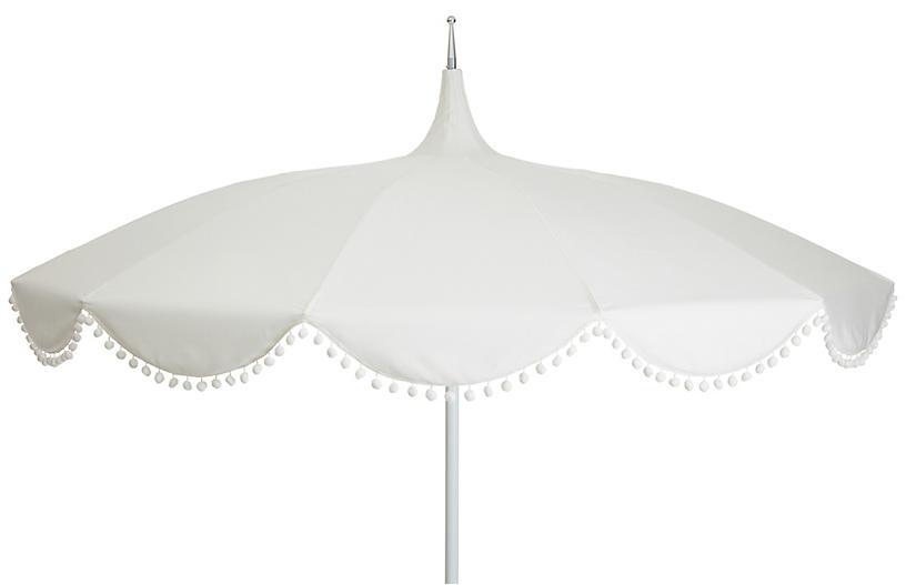 Dani Pom-Pom Patio Umbrella, White