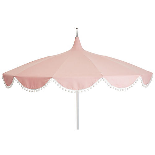 Dani Pom-Pom Patio Umbrella, Light Pink