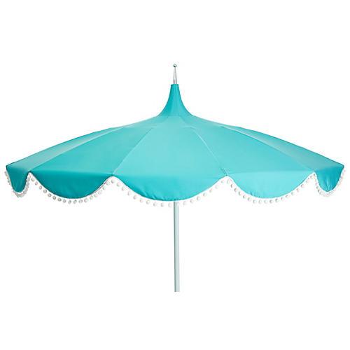 Dani Pom-Pom Patio Umbrella, Aqua