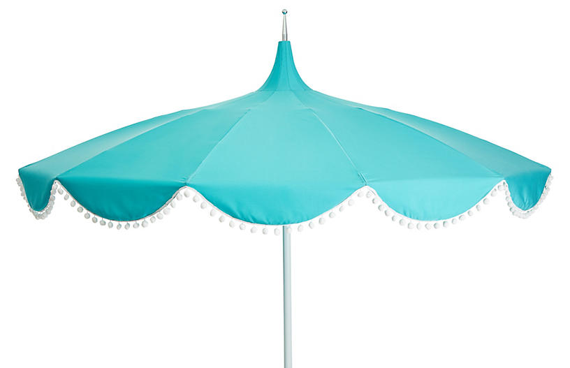Dani Pom-Pom Patio Umbrella, Aqua