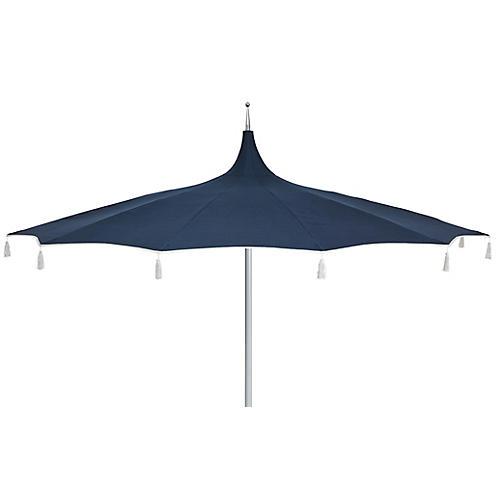 Rena Tassel Patio Umbrella, Indigo