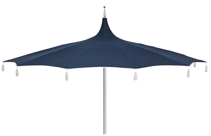 Rena Tassel Patio Umbrella, Indigo
