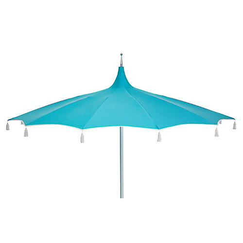Rena Tassel Patio Umbrella, Aqua