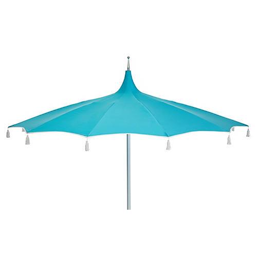 Rena Tassel Patio Umbrella, Aqua