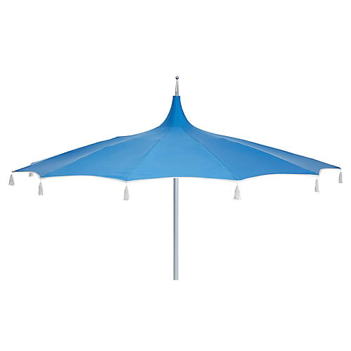 Rena Tassel Patio Umbrella, Sky Blue