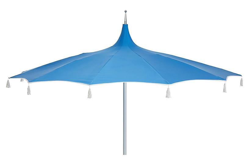 Rena Tassel Patio Umbrella, Sky Blue